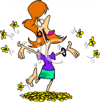 0511-0811-0316-4960_Happy_Woman_Running_Barefoot_Through_Flowers_clipart_image